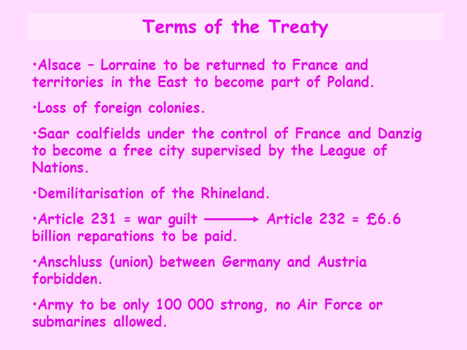 Terms of the Treaty Alsace – Lorraine to be returned to France and territories in the East to become part of Poland.