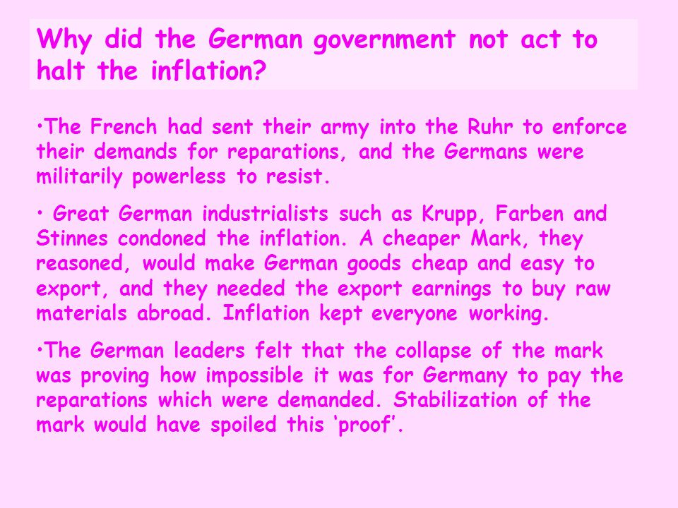 Why did the German government not act to halt the inflation