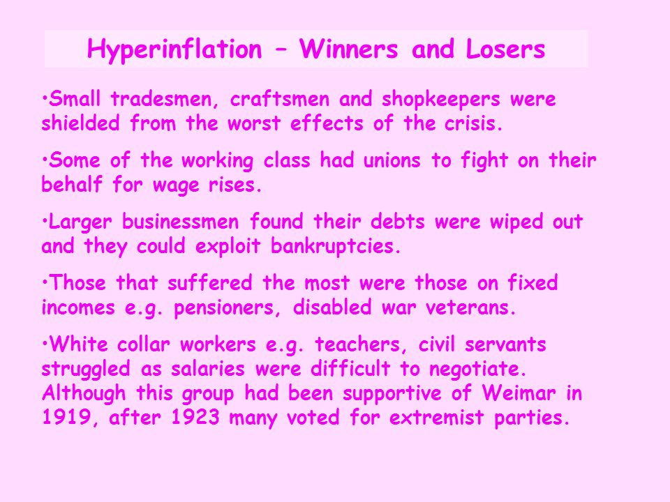 Hyperinflation – Winners and Losers