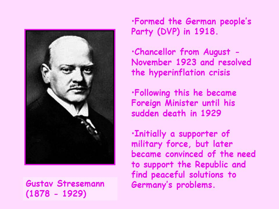 Formed the German people's Party (DVP) in 1918.