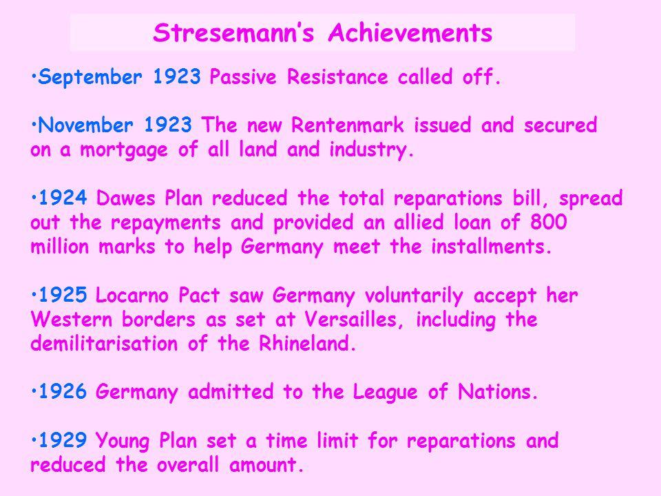 Stresemann's Achievements