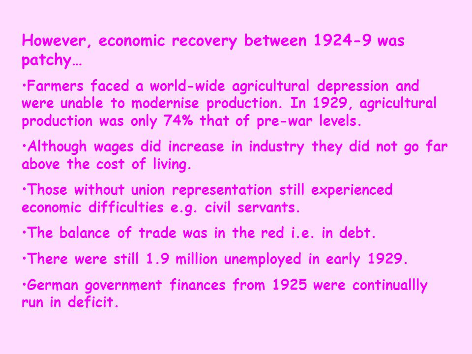However, economic recovery between 1924-9 was patchy…