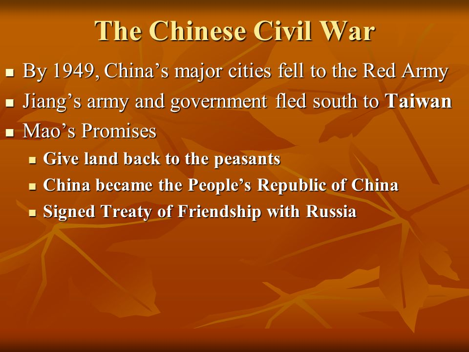 The Chinese Civil War By 1949, China's major cities fell to the Red Army. Jiang's army and government fled south to Taiwan.