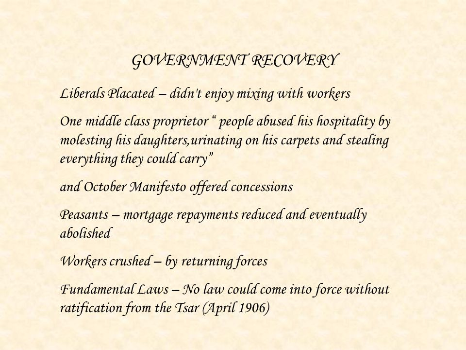 GOVERNMENT RECOVERY Liberals Placated – didn t enjoy mixing with workers.