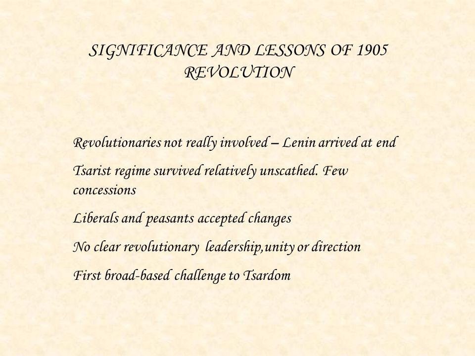 SIGNIFICANCE AND LESSONS OF 1905 REVOLUTION