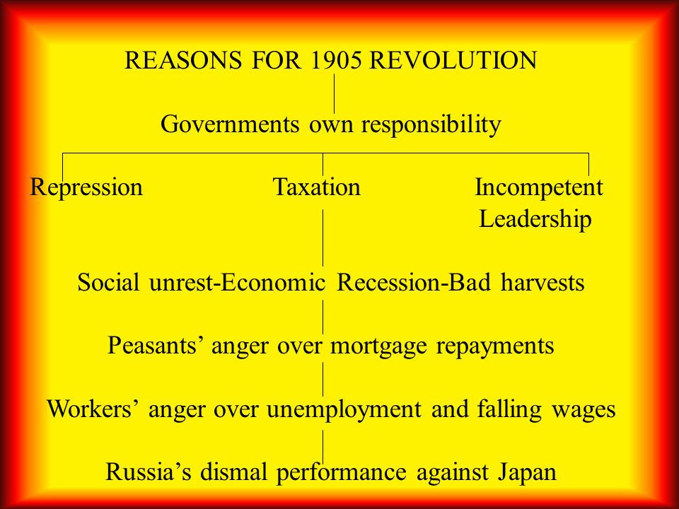REASONS FOR 1905 REVOLUTION Governments own responsibility