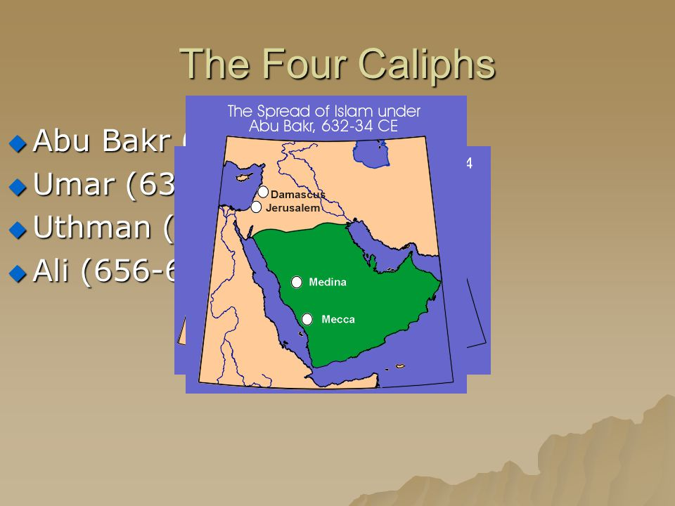 The Four Caliphs Abu Bakr (632-634) Umar (634-644) Uthman (644-656)