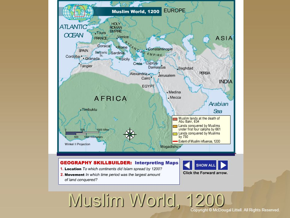This map shows the extensive expansion of the Muslim world and its influence from the 7th century through end of the 12th century.