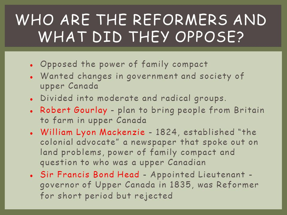 Who are the reformers and what did they oppose