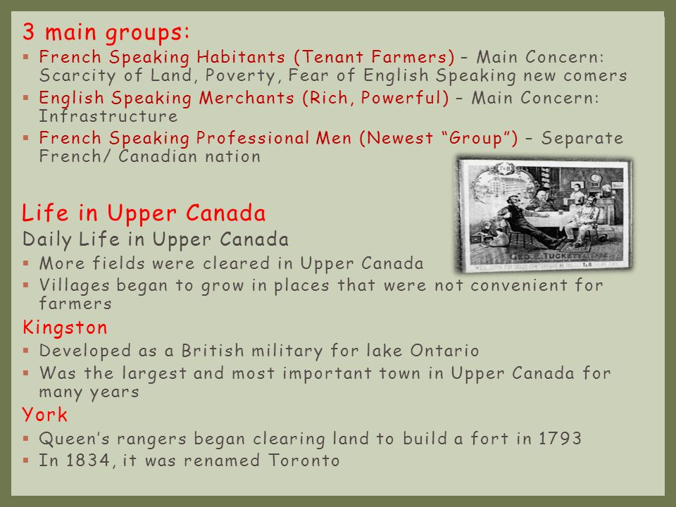 3 main groups: Life in Upper Canada Daily Life in Upper Canada