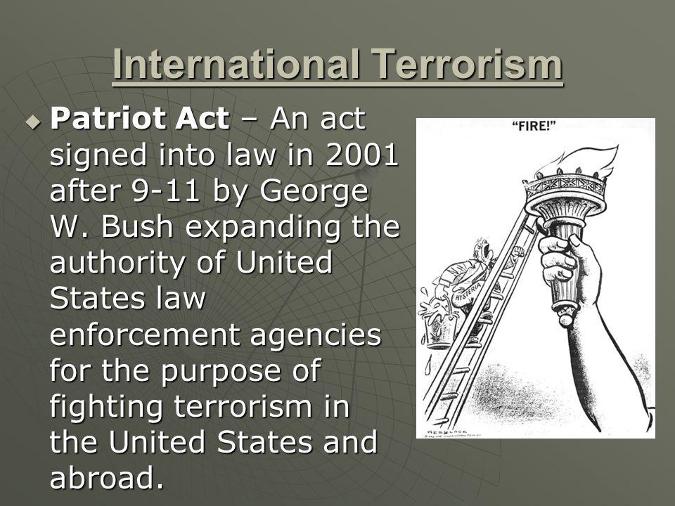 a research on the united states of america patriot act of 2001 After the devastating attacks on the united states on september 11, 2001 research , 71(4), 1111-1126 - the usa patriot act the united states of america is a.