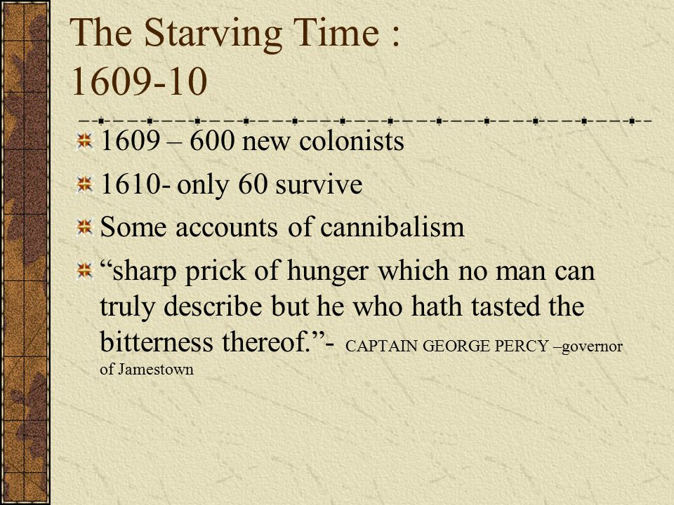 The Starving Time : 1609-10 1609 – 600 new colonists