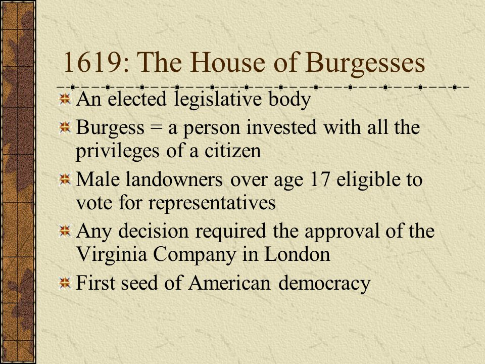 1619: The House of Burgesses