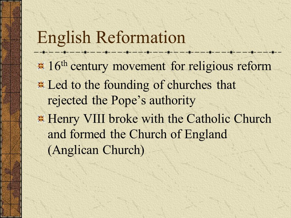 English Reformation 16th century movement for religious reform