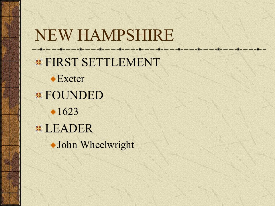 NEW HAMPSHIRE FIRST SETTLEMENT FOUNDED LEADER Exeter 1623