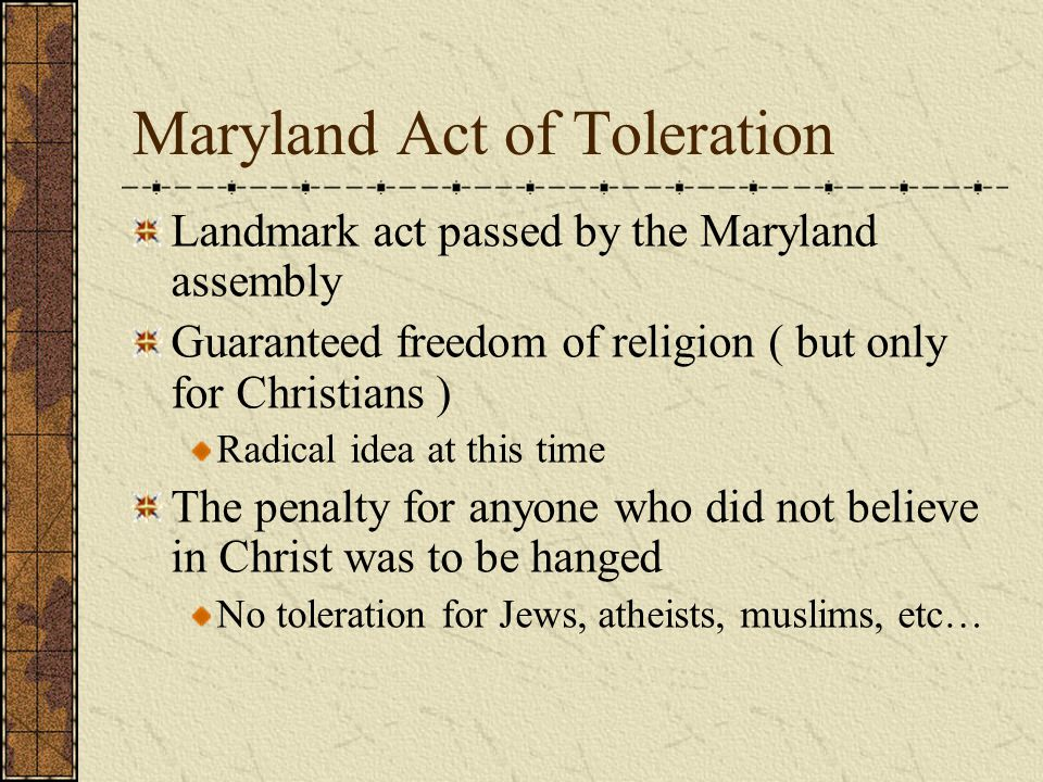 Maryland Act of Toleration