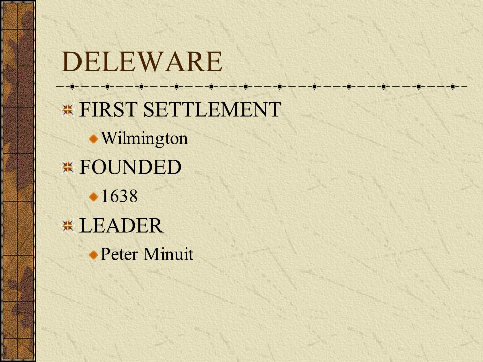 DELEWARE FIRST SETTLEMENT Wilmington FOUNDED 1638 LEADER Peter Minuit