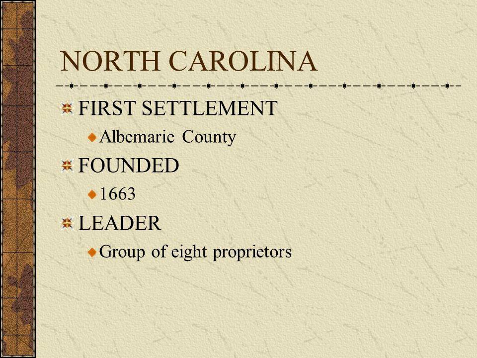 NORTH CAROLINA FIRST SETTLEMENT FOUNDED LEADER Albemarie County 1663