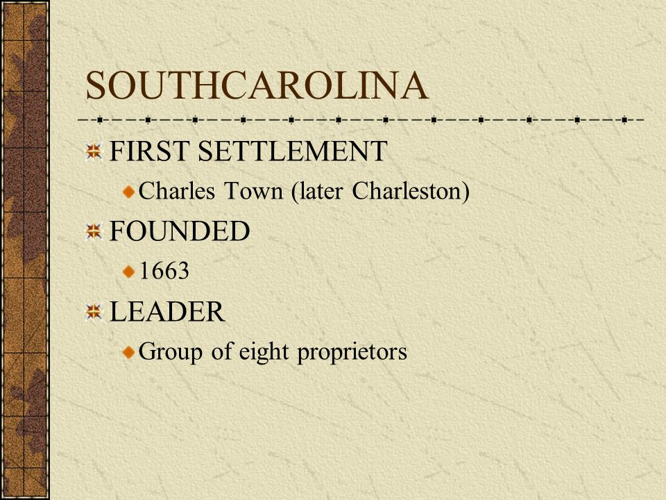 SOUTHCAROLINA FIRST SETTLEMENT FOUNDED LEADER