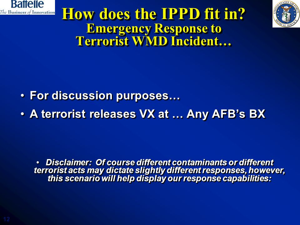 How does the IPPD fit in Emergency Response to Terrorist WMD Incident…
