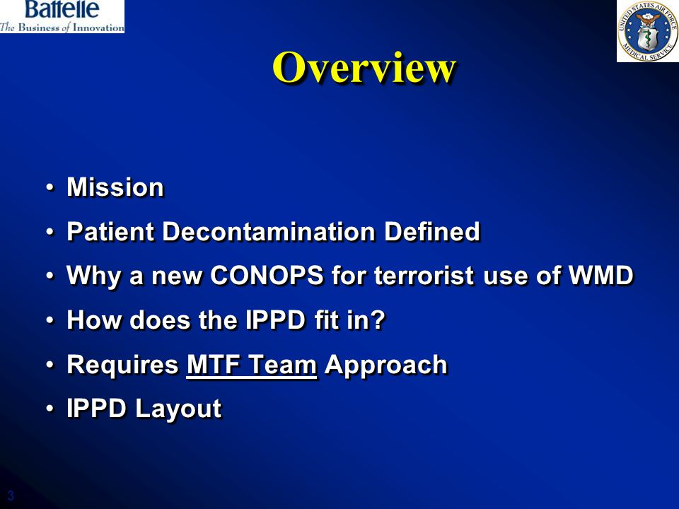 Overview Mission Patient Decontamination Defined