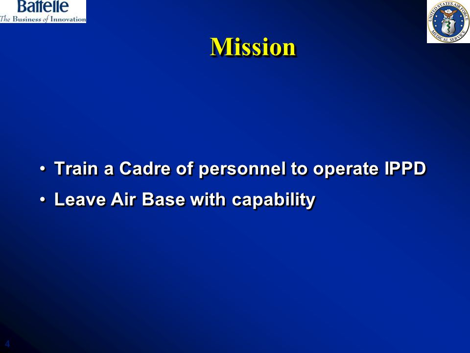 Mission Train a Cadre of personnel to operate IPPD