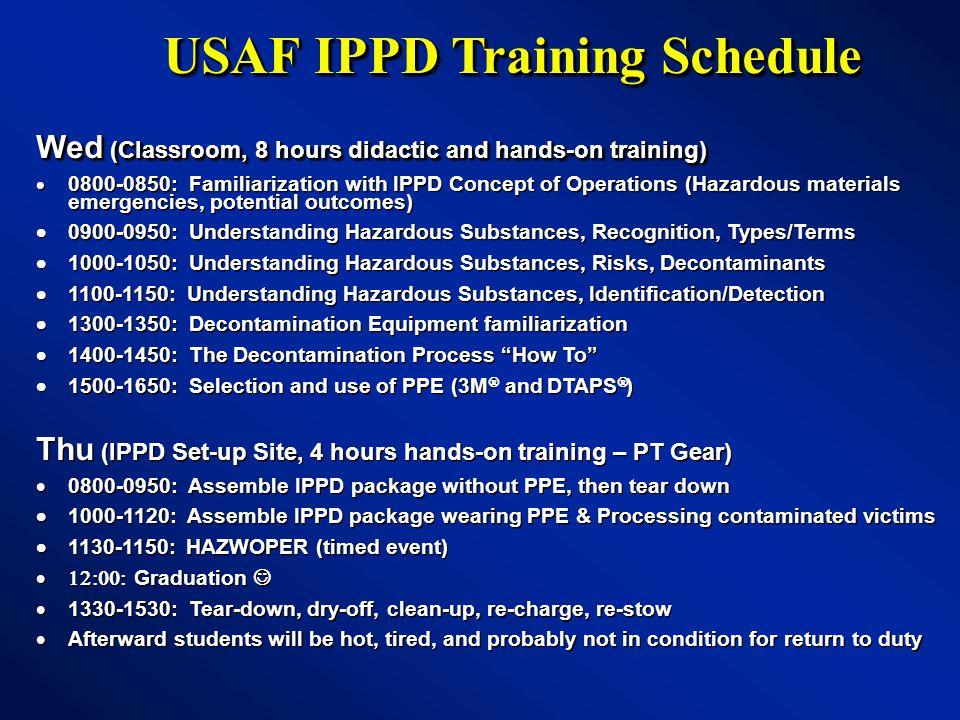 USAF IPPD Training Schedule