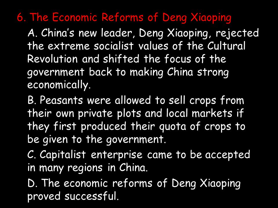 6. The Economic Reforms of Deng Xiaoping