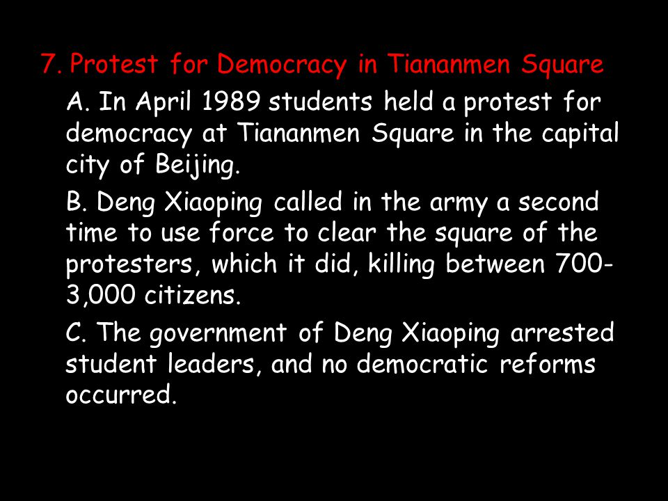 7. Protest for Democracy in Tiananmen Square