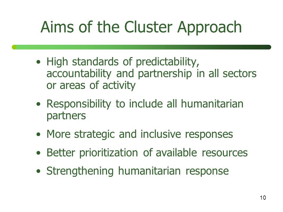Aims of the Cluster Approach