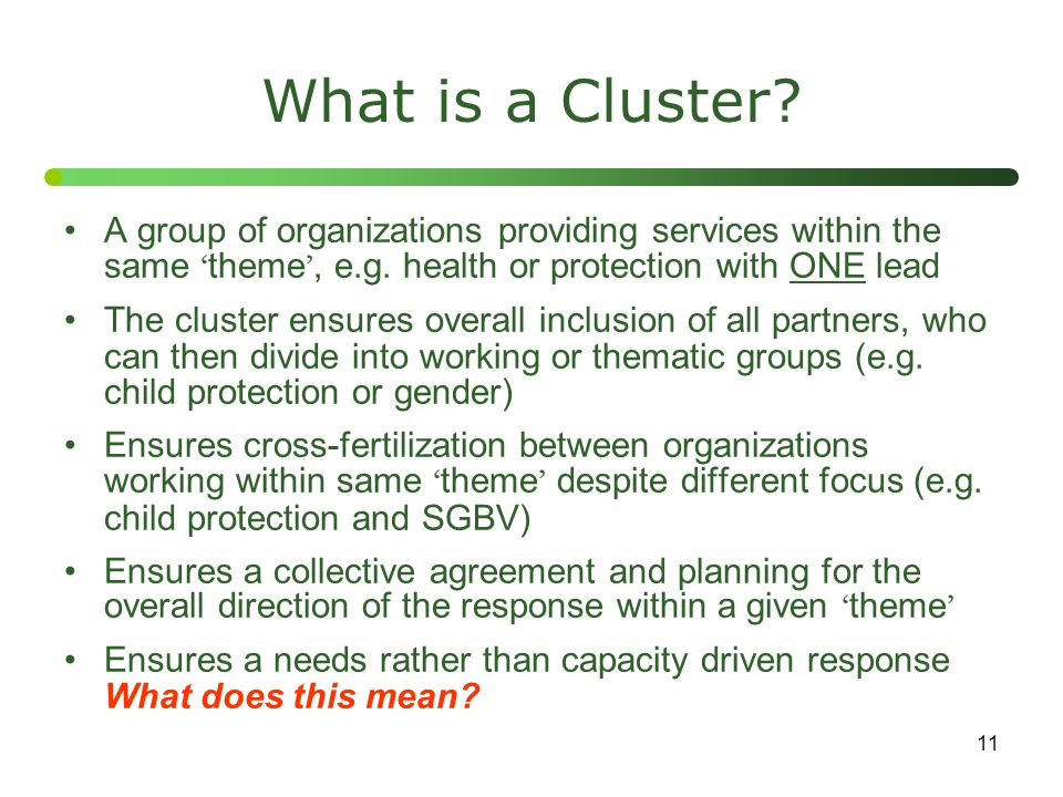 What is a Cluster A group of organizations providing services within the same 'theme', e.g. health or protection with ONE lead.