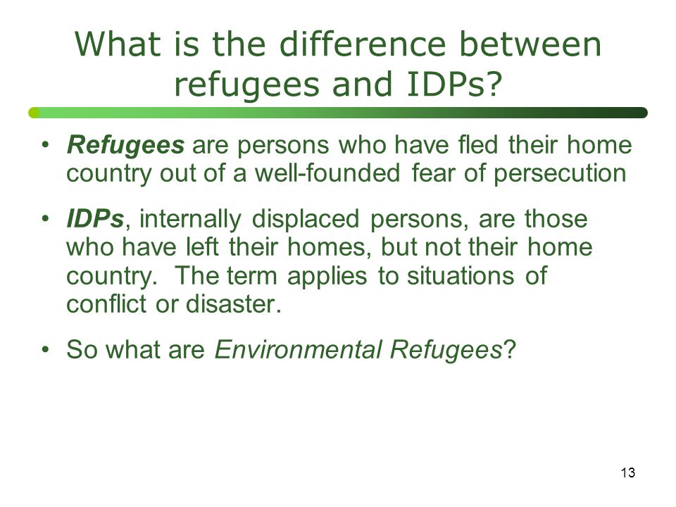What is the difference between refugees and IDPs