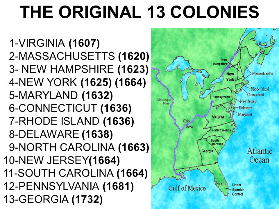 THE ORIGINAL 13 COLONIES 1-VIRGINIA (1607) 2-MASSACHUSETTS (1620)