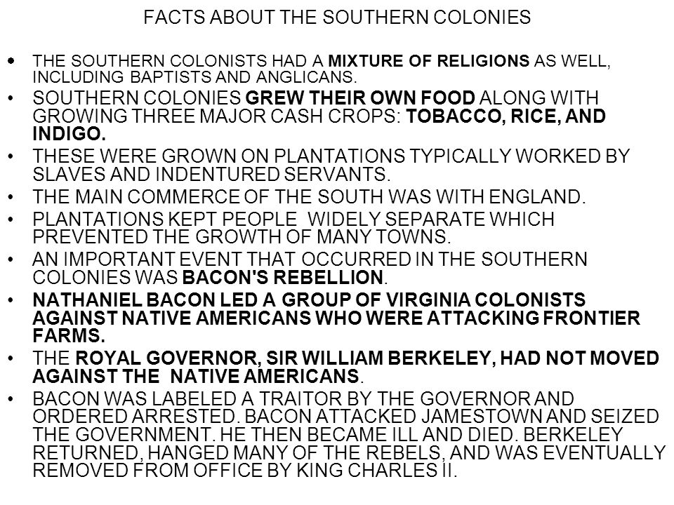 FACTS ABOUT THE SOUTHERN COLONIES