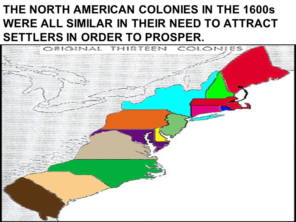 THE NORTH AMERICAN COLONIES IN THE 1600s WERE ALL SIMILAR IN THEIR NEED TO ATTRACT SETTLERS IN ORDER TO PROSPER.