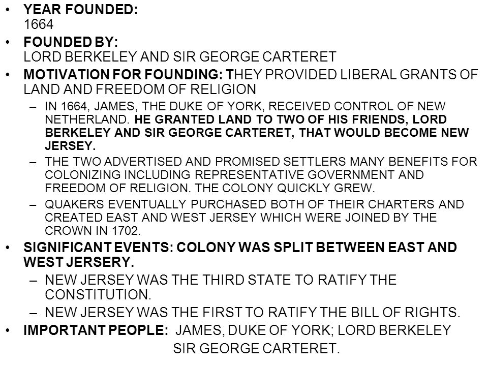 FOUNDED BY: LORD BERKELEY AND SIR GEORGE CARTERET