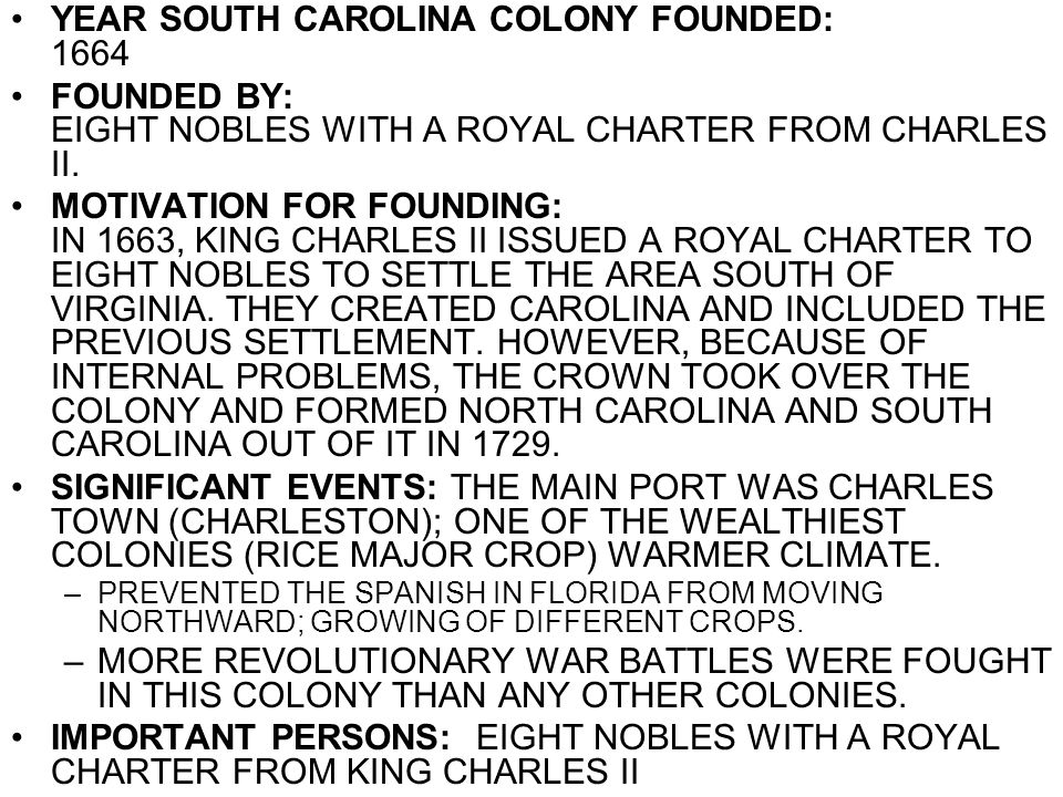 YEAR SOUTH CAROLINA COLONY FOUNDED: 1664