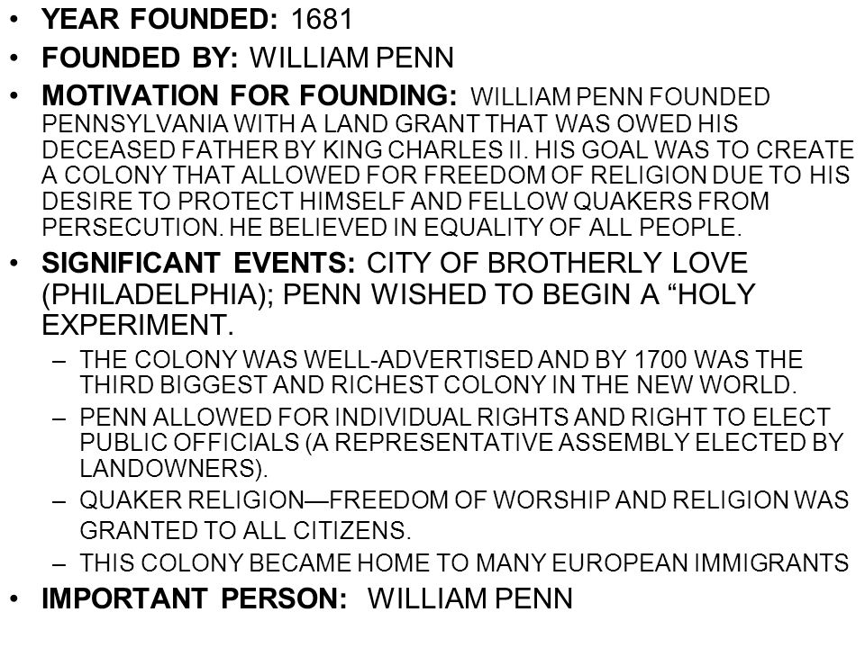 FOUNDED BY: WILLIAM PENN