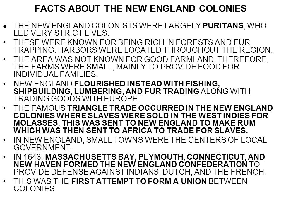 FACTS ABOUT THE NEW ENGLAND COLONIES