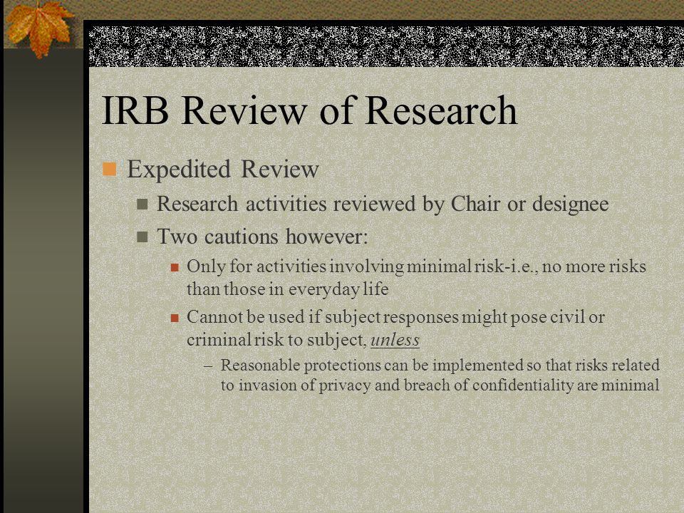 IRB Review of Research Expedited Review