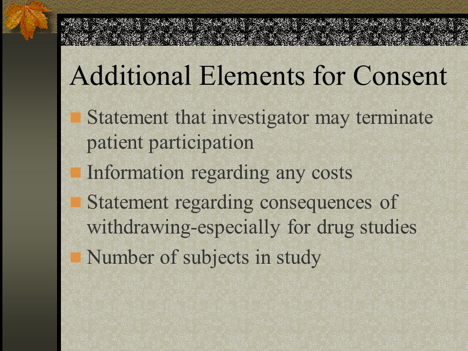 Additional Elements for Consent