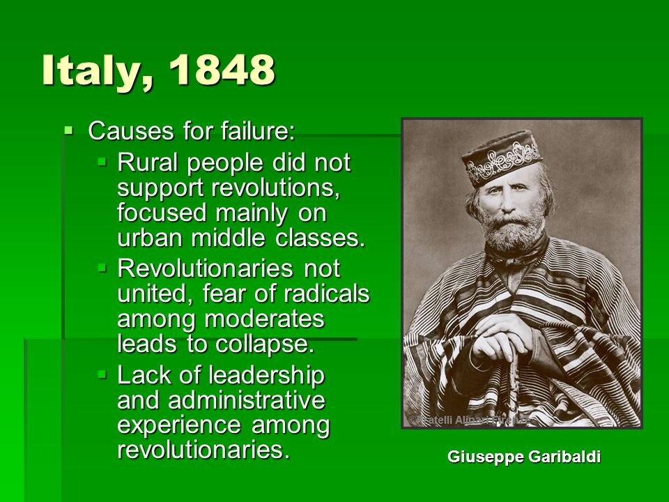 Italy, 1848 Causes for failure: