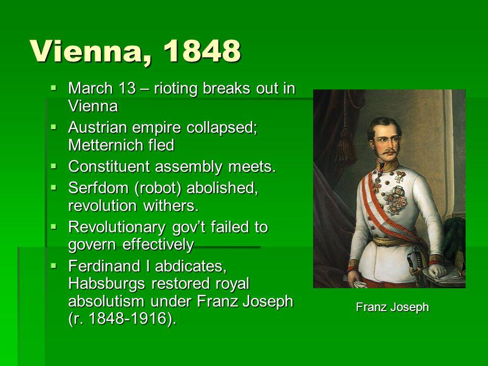 Vienna, 1848 March 13 – rioting breaks out in Vienna
