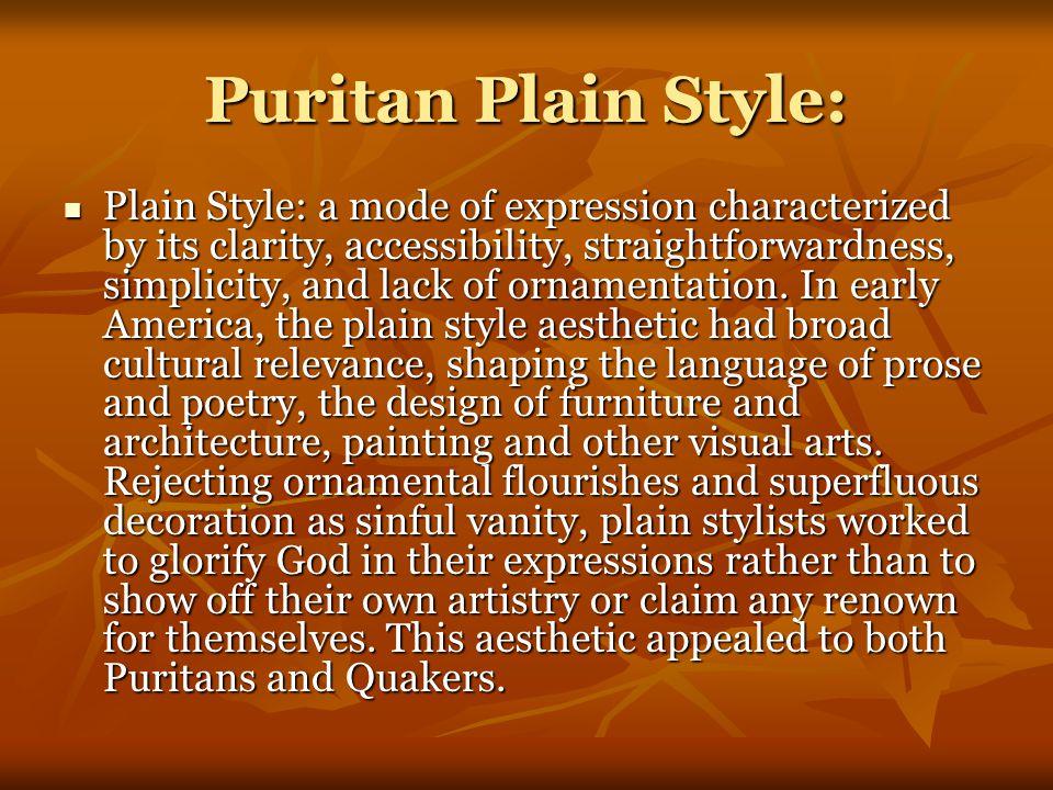 Puritan Plain Style: