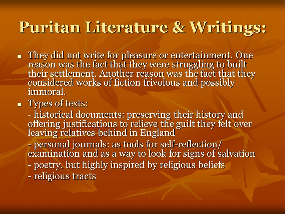 Puritan Literature & Writings: