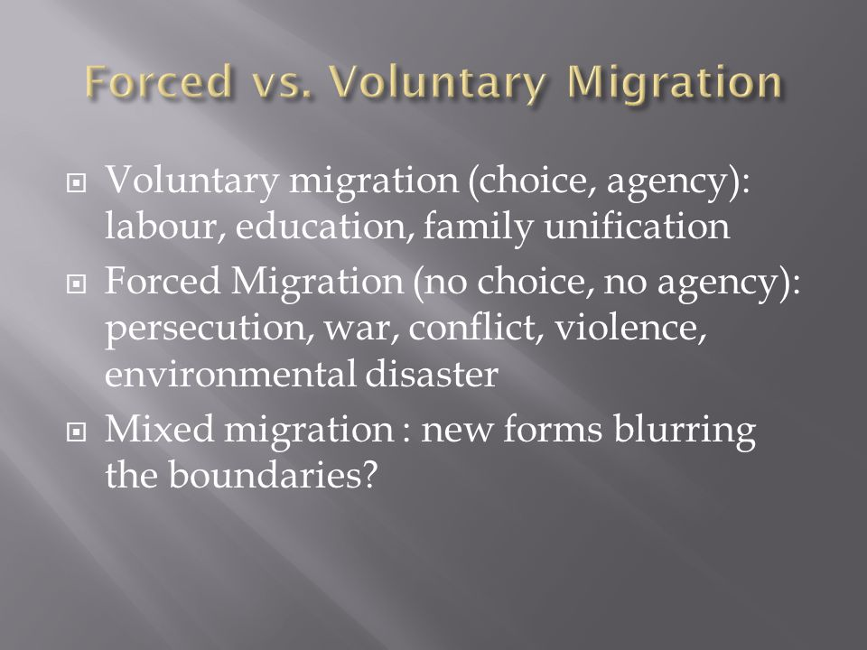 Forced vs. Voluntary Migration
