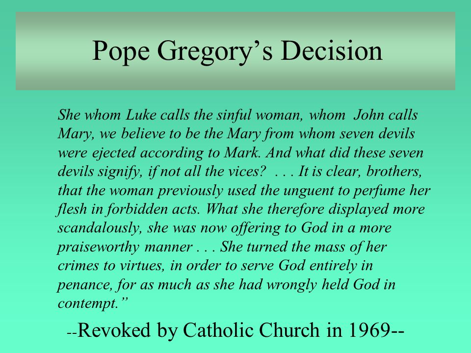 Pope Gregory's Decision
