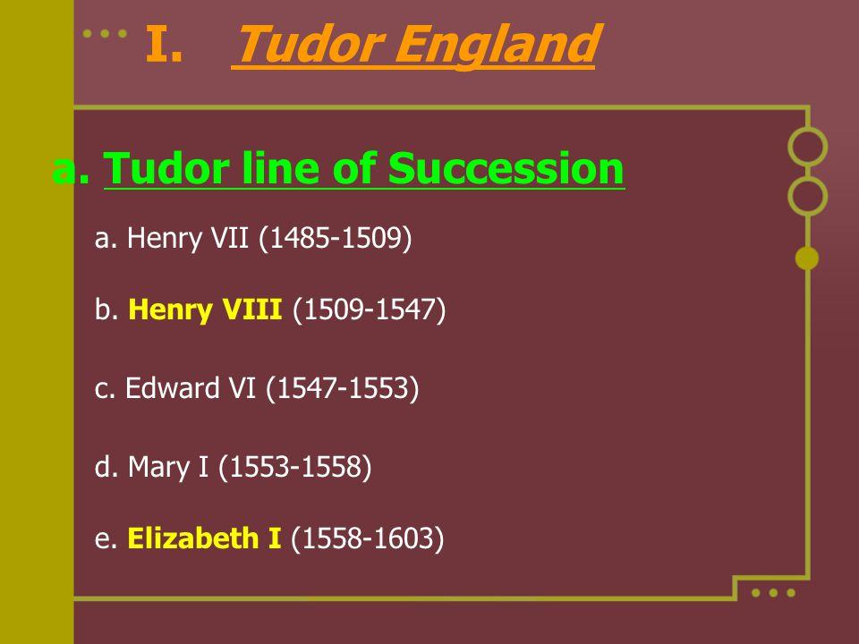 I. Tudor England a. Tudor line of Succession a. Henry VII (1485-1509)