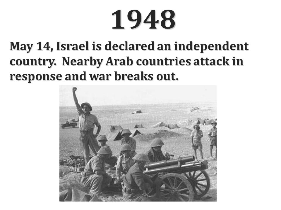 1948 May 14, Israel is declared an independent country.