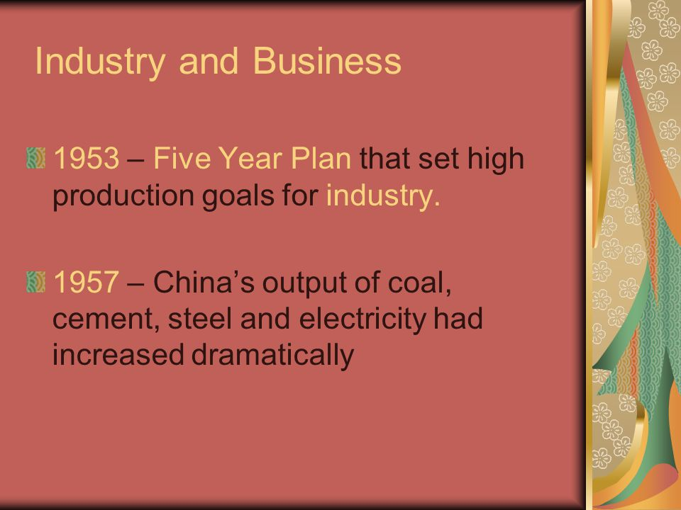 Industry and Business 1953 – Five Year Plan that set high production goals for industry.